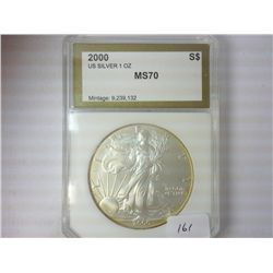2000 AMERICAN SILVER EAGLE PCI MS70