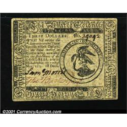 Continental Currency May 10, 1775 $3 Extremely Fine.