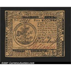 Continental Currency May 10, 1775 $5 Very Choice New.