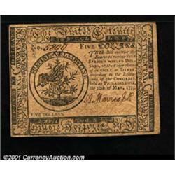 Continental Currency May 10, 1775 $5 About New.