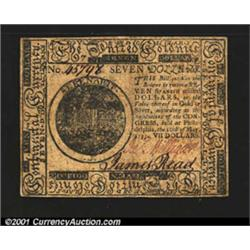 Continental Currency May 10, 1775 $7 About New.