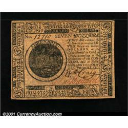 Continental Currency May 10, 1775 $7 Choice Extremely Fine.