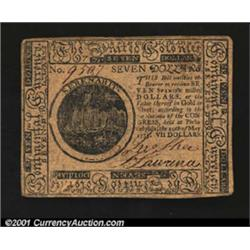 Continental Currency May 10, 1775 $7 Choice Very Fine.