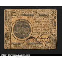 Continental Currency May 10, 1775 $7 Extremely Fine.