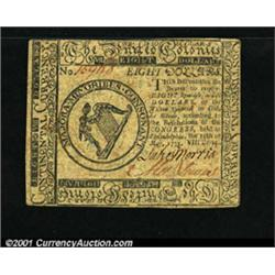 Continental Currency May 10, 1775 $8 About New.