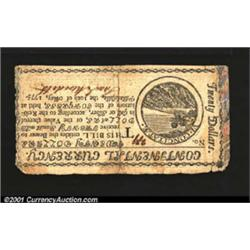 Continental Currency May 10, 1775 $20 Very Fine.