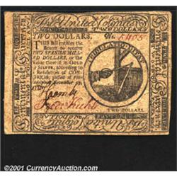 Continental Currency November 29, 1775 $2 Very Fine-Extremely Fine.