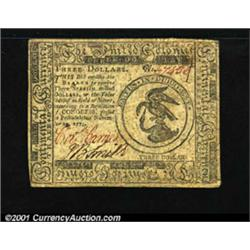 Continental Currency November 29, 1775 $3 Extremely Fine.