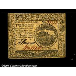 Continental Currency November 29, 1775 $4 Choice About New.