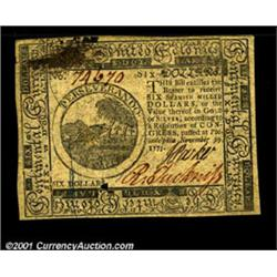 Continental Currency November 29, 1775 $6 Choice About New.