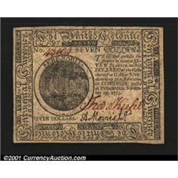 Continental Currency November 29, 1775 $7 Gem New.