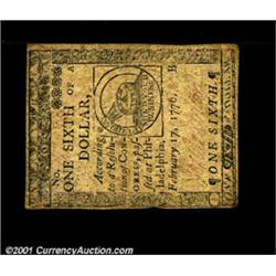 Continental Currency February 17, 1776 $1/6 Extremely Fine.