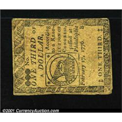 Continental Currency February 17, 1776 $1/3 Very Fine.