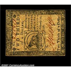 Continental Currency February 17, 1776 $2/3 Choice Very Fine.
