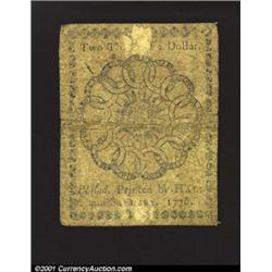 Continental Currency February 17, 1776 $2/3 Fine-Very Fine.