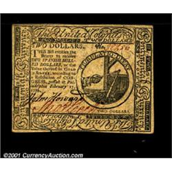 Continental Currency February 17, 1776 $2 Choice About New.