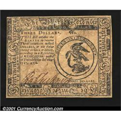 Continental Currency February 17, 1776 $3 Choice About New.