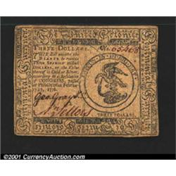 Continental Currency February 17, 1776 $3 Extremely Fine.