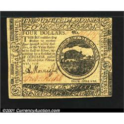 Continental Currency February 17, 1776 $4 Choice About New.