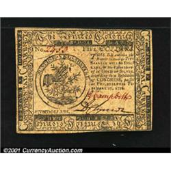 Continental Currency February 17, 1776 $5 Choice New.