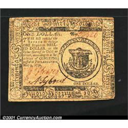 Continental Currency May 9, 1776 $1 Very Fine.