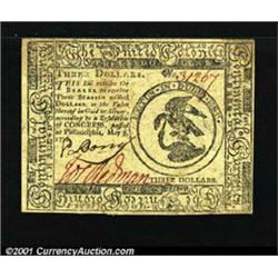 Continental Currency May 9, 1776 $3 Very Choice New.