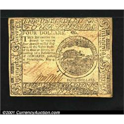 Continental Currency May 9, 1776 $4 About New.