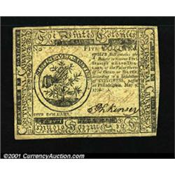 Continental Currency May 9, 1776 $5 Choice About New.