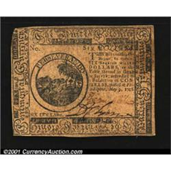 Continental Currency May 9, 1776 $6 Extremely Fine.