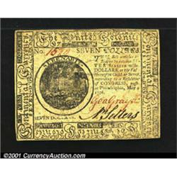 Continental Currency May 9, 1776 $7 Choice Extremely Fine.