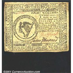 Continental Currency May 9, 1776 $8 Extremely Fine.