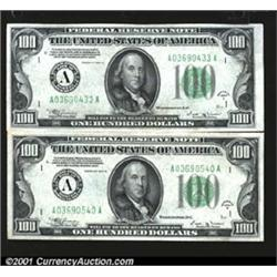 Fr. 2154-A $100 1934B Mule Federal Reserve Notes.