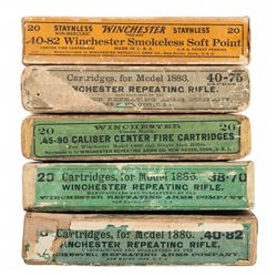 Five Boxes of Vintage Winchester 1886 Rifle Ammunition