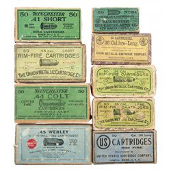 Nine Boxes of Vintage Ammunition, Mostly Winchester and Union Metallic Cartridge Production