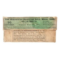 Vintage Box of Winchester 40-75-260 Express Cartridges for the Model 1886 Rifle
