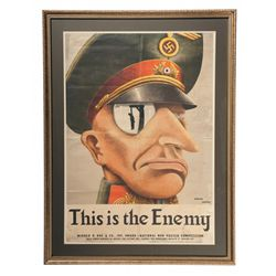 Rare WWII Karl Koehler and Victoria Ancona's  This is the Enemy  Propaganda Poster