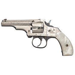 Exceptional Factory Engraved Merwin Hulbert & Co Small Frame Double Action Revolver with Pearl Grips