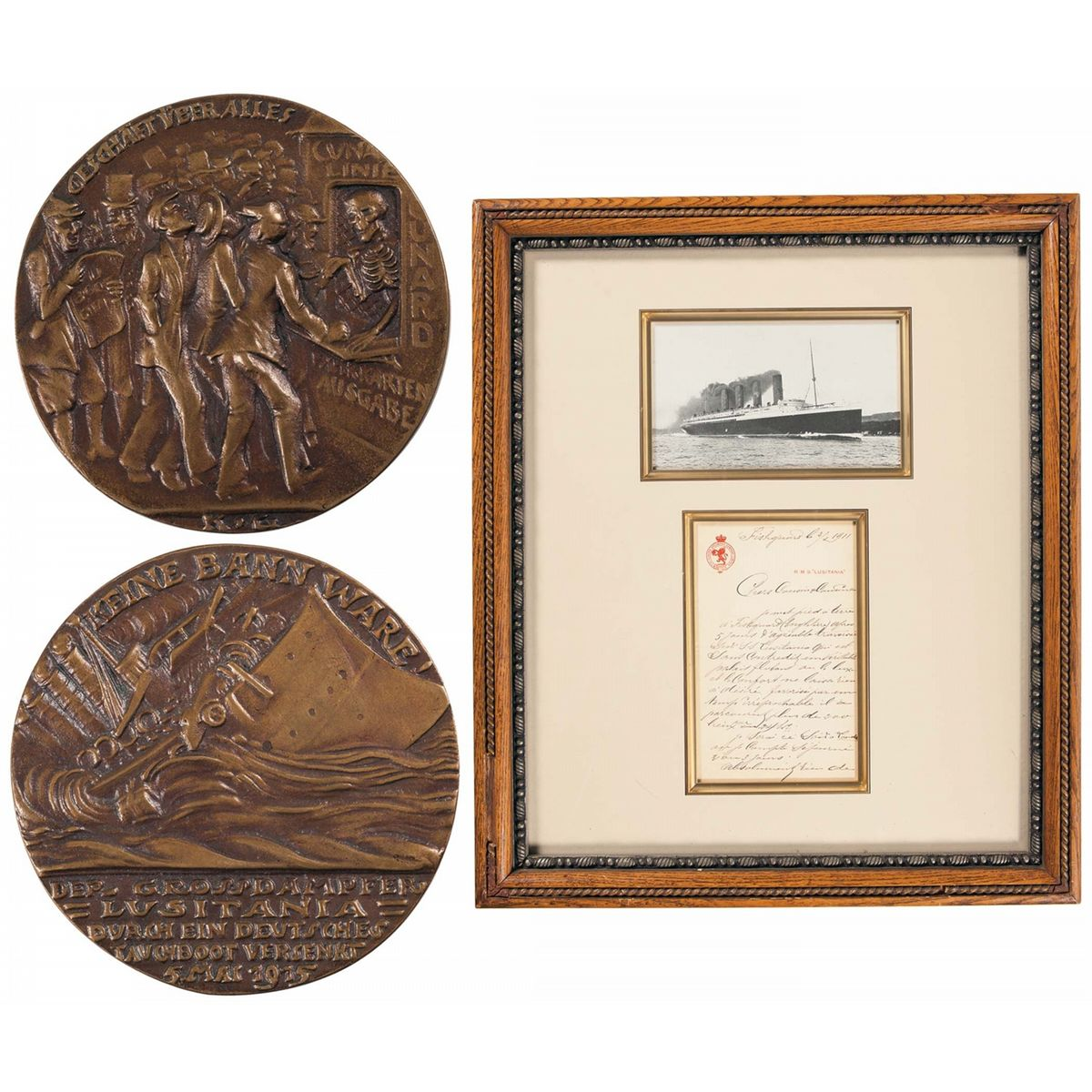 Framed RMS Lusitania Display and German Lusitania Medal