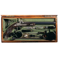 Uniquely Cased Engraved and Gold Inlaid Bristlen Paris Percussion Target Pistol with Relief Carved S