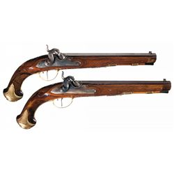 Pair of Silver Inlaid Jacob Kuchenreuter Percussion Pistols