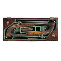 Cased Pair of Gold Inlaid LePage Damascus Percussion Pistols with Accessories