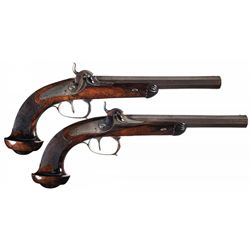 Pair of Unmarked European Percussion Pistols