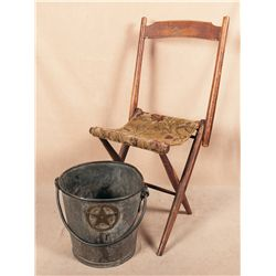 Civil War Camp Chair and U.S.S. Paul Jones Fire Bucket