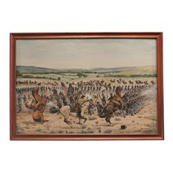 Ron Craig Signed and Dated Civil War Battle Oil Painting