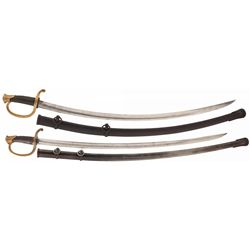 Two Civil War Artillery Sabres with Scabbards