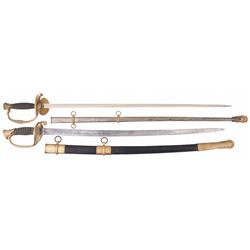 German-Made Model 1860 Staff & Field Officer's Sword with Scabbard and An Ames Model 1850 Foot Offic