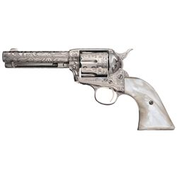 David Harris Signed Cattle Brand Custom Engraved Colt Single Action Army Revolver with Documentation