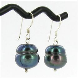 Saltwater Baroque Black Pearl Earrings (JEW-250L)