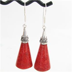 50twc Red Coral Sterling Earrings (JEW-3440)