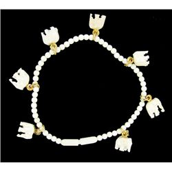 Ivory Carved Elephant Bracelet w/ Gold Vermeil (JEW-2403)